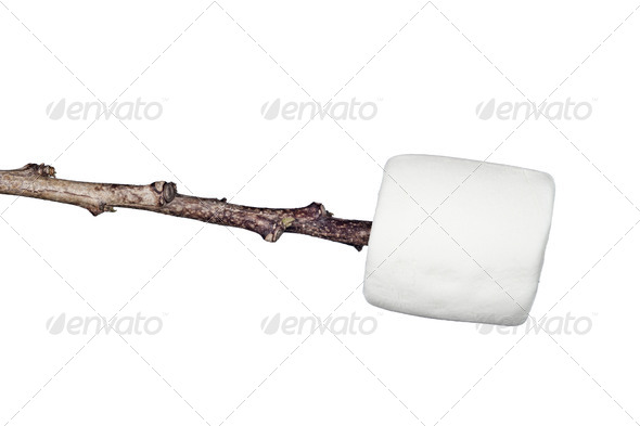 Marshmallow on a stick - Stock Photo - Images