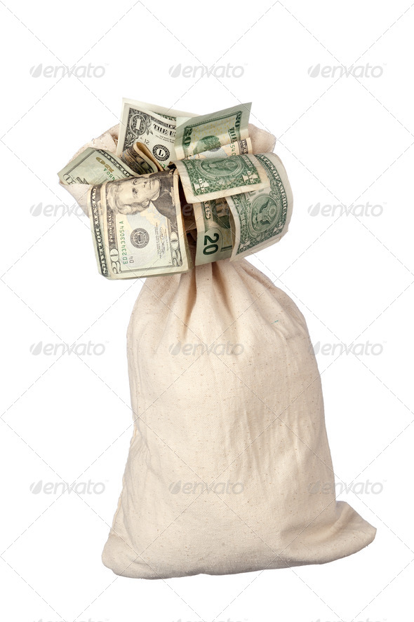 Burlap sack of cash - Stock Photo - Images