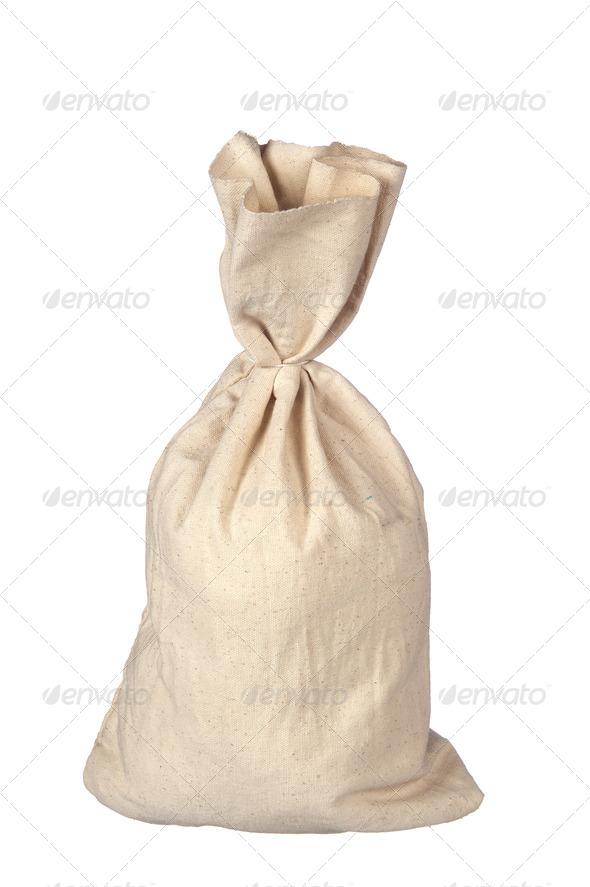 Burlap sack on white - Stock Photo - Images