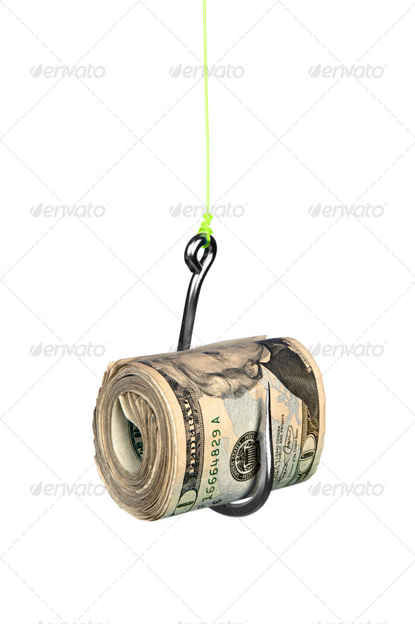 Cash on fishook - Stock Photo - Images
