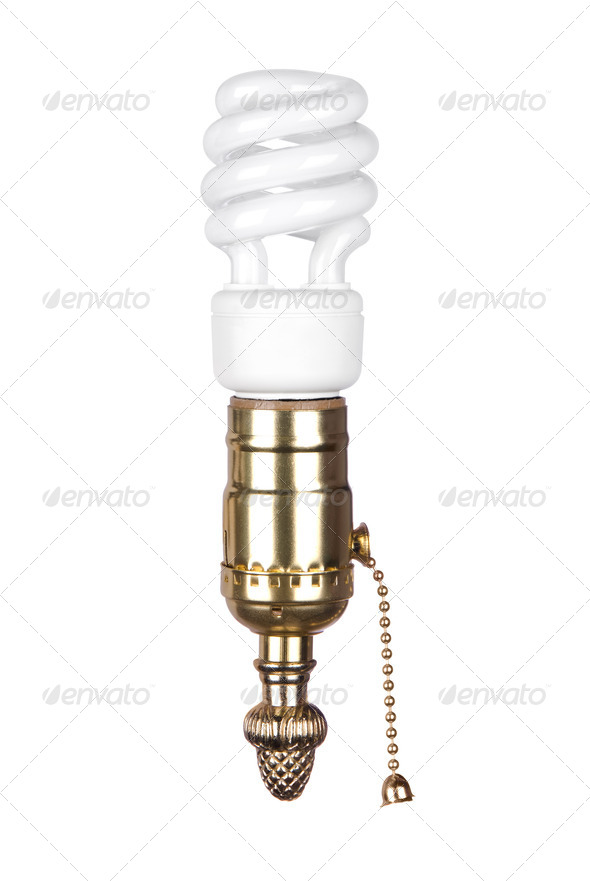 Lightbulb and socket with pull chain - Stock Photo - Images