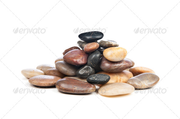 Pile of smooth stones - Stock Photo - Images