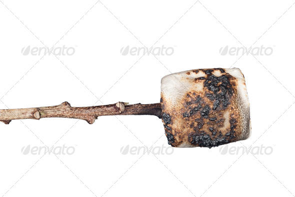 Burned marshmallow isolated on white - Stock Photo - Images