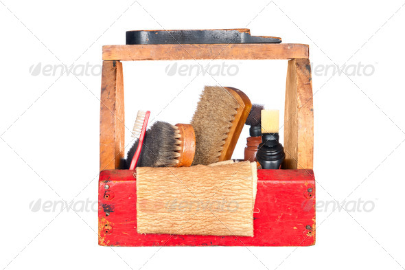Antique shoe shine box - Stock Photo - Images