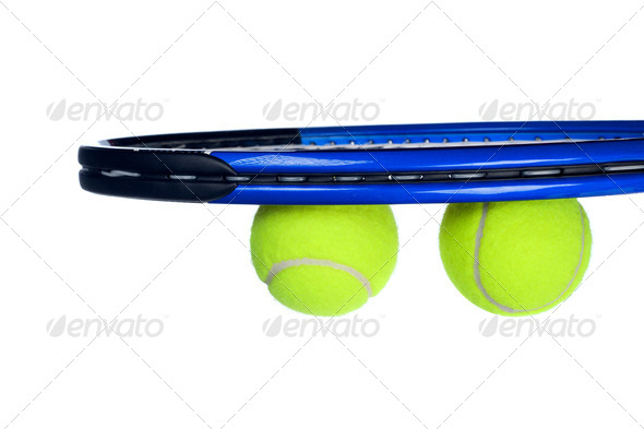 Tennis equipment isolated on white - Stock Photo - Images