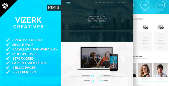 Vizerk - One Page Parallax - Creative Site Templates