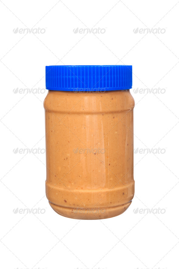 Jar of peanut butter on white - Stock Photo - Images