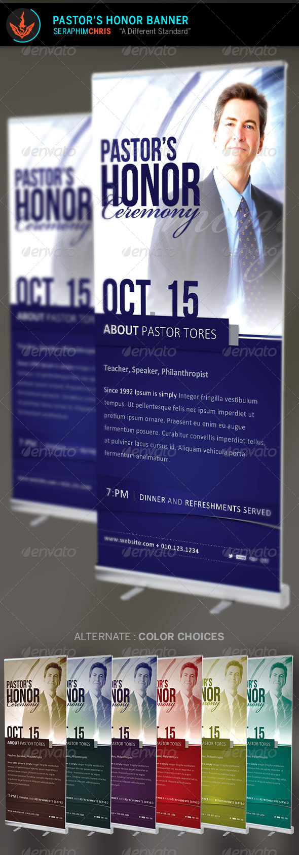 Pastor's Honor: Church Banner Template - Signage Print Templates