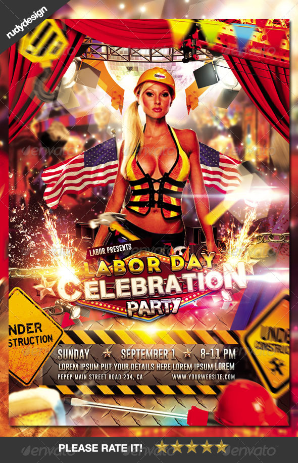 Good Labor Day Memorial Day Party Flyer Design