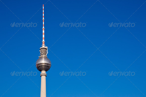 Television tower on Alexanderplatz - Stock Photo - Images