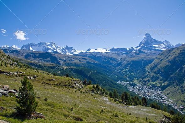 Zermatt with Matterhorn, Castor and Pollux - Stock Photo - Images
