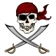 Vector Single Cartoon Pirate Skull in Red Bandana  - GraphicRiver Item for Sale