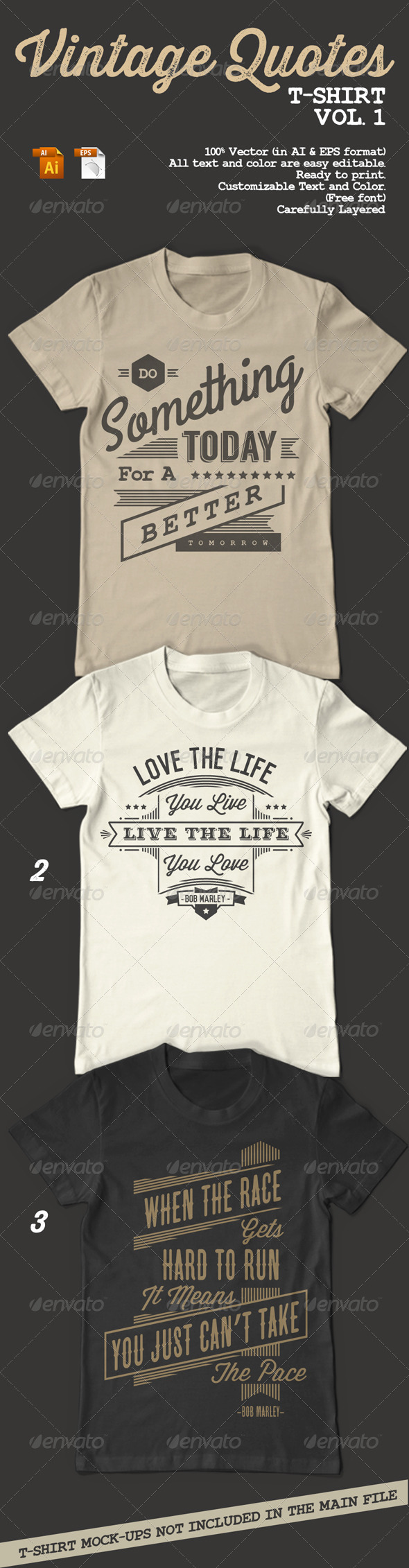 Vintage Quotes T-Shirt Vol. 1 - Designs T-Shirts