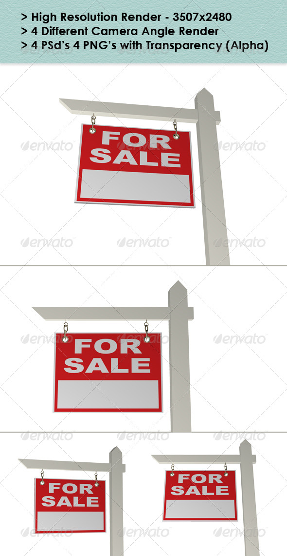 Real Estate Sign - Objects 3D Renders