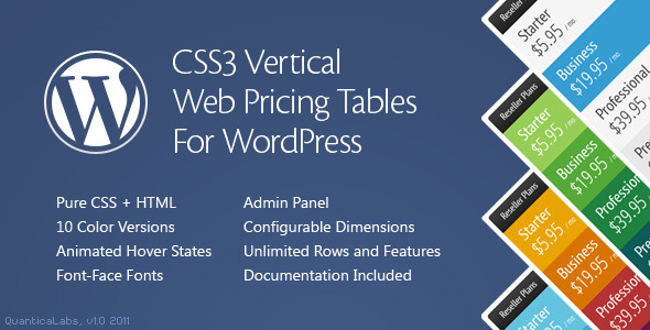 CSS3 Vertical Web Pricing Tables For WordPress - CodeCanyon Item for Sale