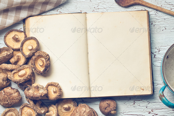 blank cookbook and shiitake - Stock Photo - Images