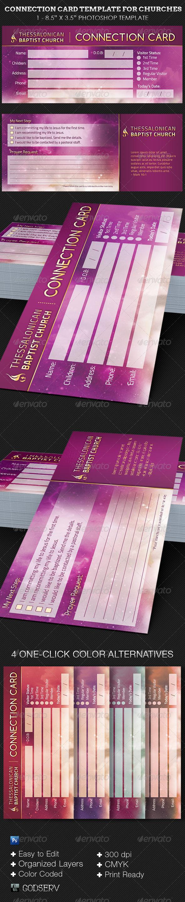 Heaven Church Connection Card Template - Church Flyers