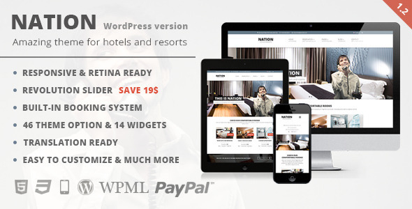 Nation Hotel - Responsive WordPress Theme - Travel Retail