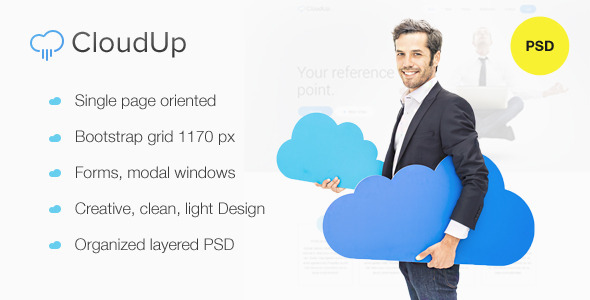 CloudUp — Hosting PSD one page Theme - Hosting Technology