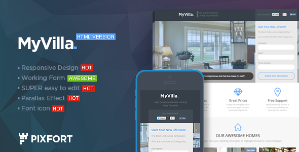 MyVilla – Real Estate HTML Landing Page