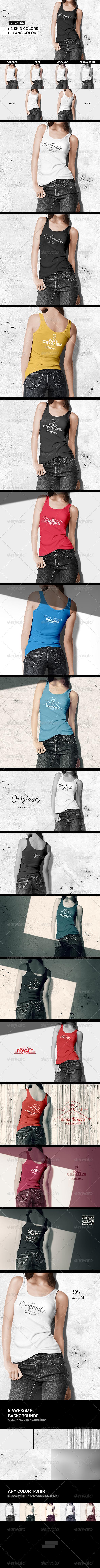 Women Tank Shirt Mock-up - T-shirts Apparel