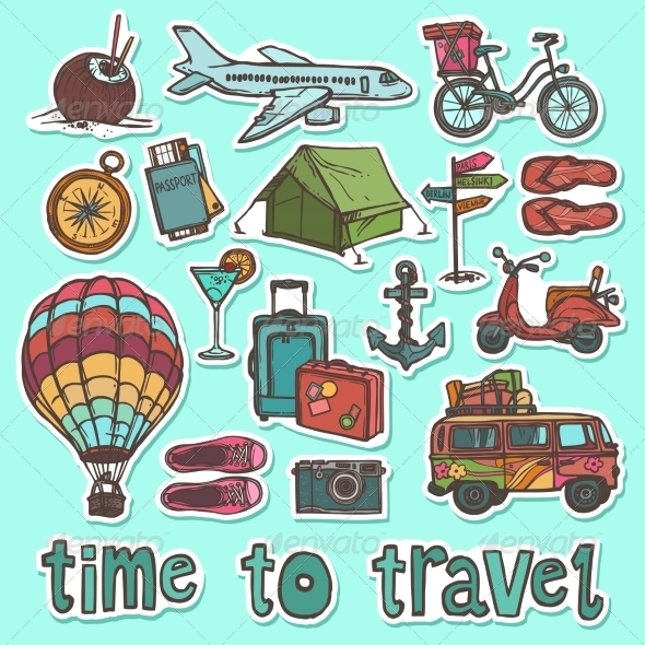 Travel Sketch Stickers Set By Macrovector Graphicriver