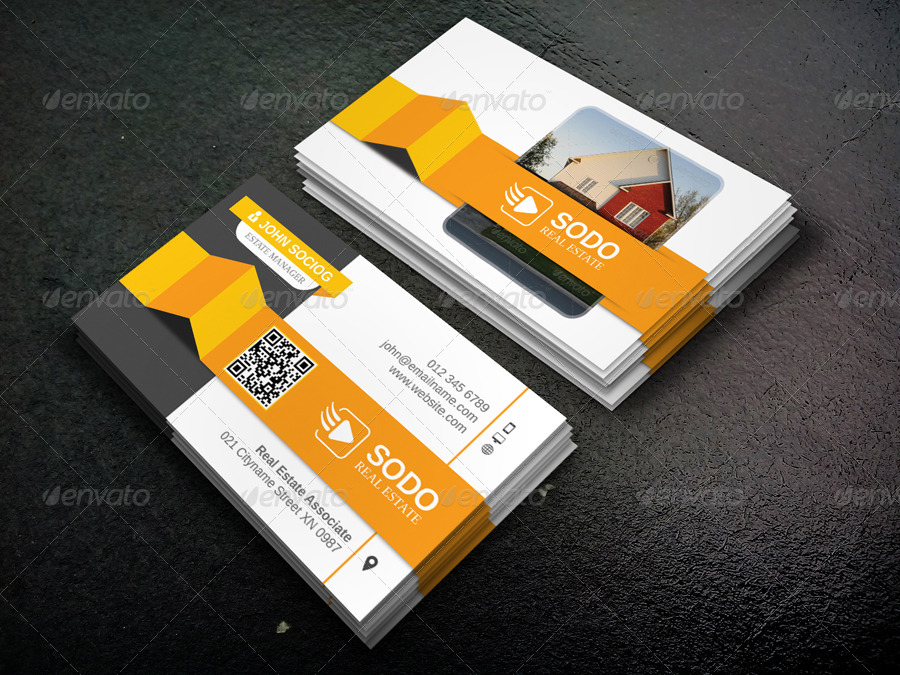 Real Estate Business Card by -axnorpix | GraphicRiver