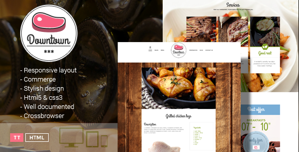 Downtown – Restaurant HTML Template