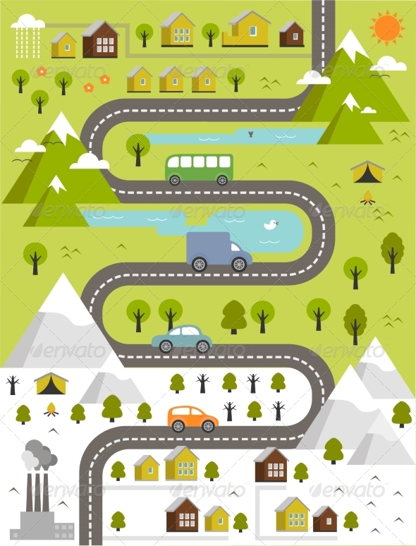 cartoon map of town by leyla levkina graphicriver cartoon map of town