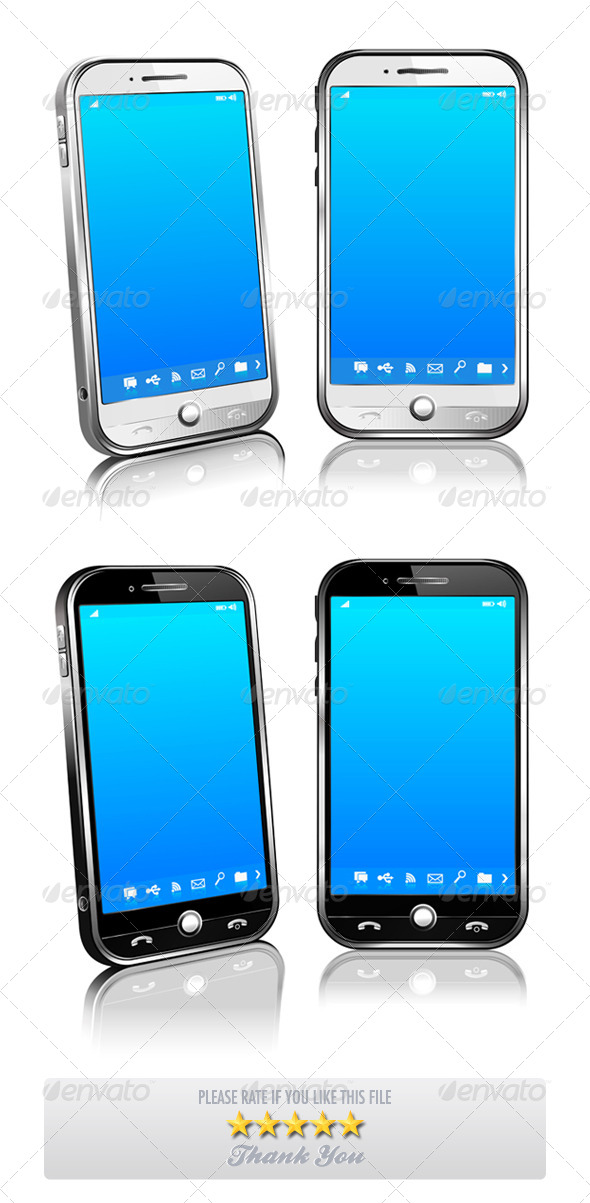 Phone Cell Smart Mobile 3D 2D White and Black - Communications Technology