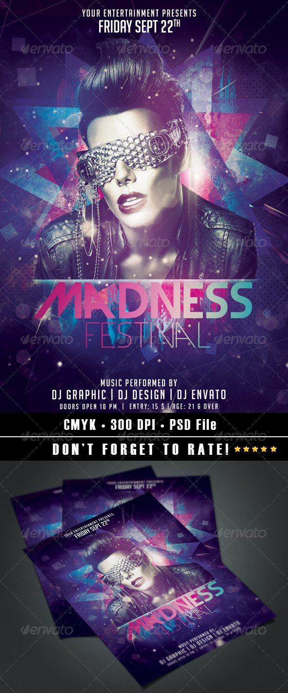 Madness Festival Flyer - Events Flyers