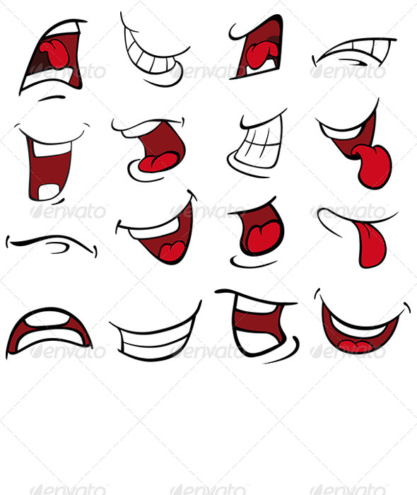 set of mouths cartoon by liusa graphicriver rh graphicriver net cartoon mouth drawing cartoon mouth vector