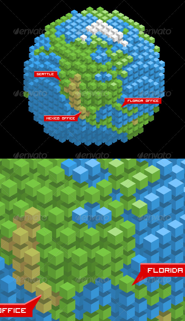 earth made of cubes by dxc graphicriver. Black Bedroom Furniture Sets. Home Design Ideas