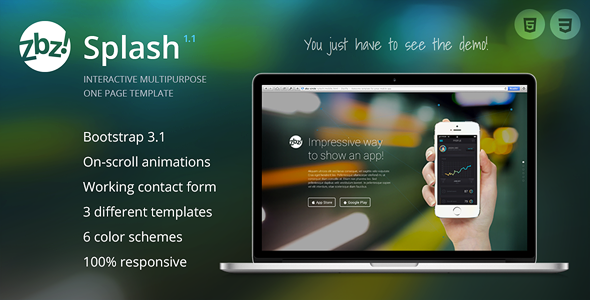Zbz! Splash — Interactive One-Page Template - Site Templates