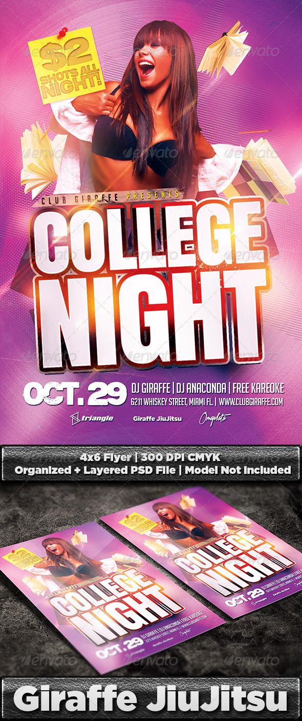 College Night Flyer Template PSD - Clubs & Parties Events