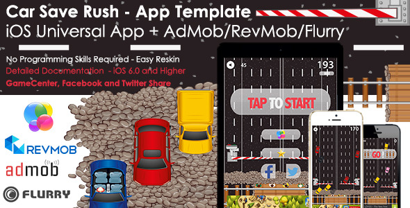 Car Save Rush - Universal iOS Full Game App + Ads - CodeCanyon Item for Sale