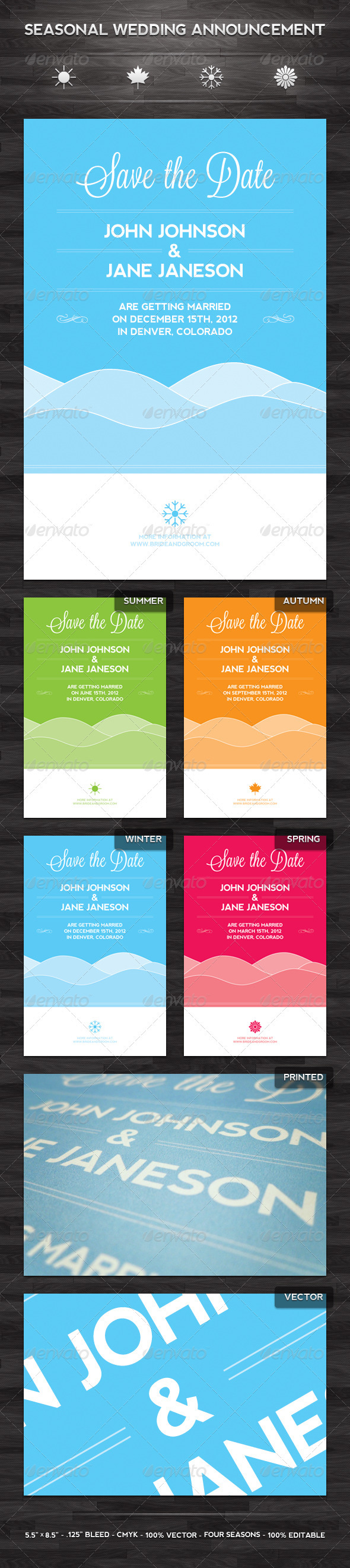 Seasonal Wedding Announcement Template - Holiday Greeting Cards