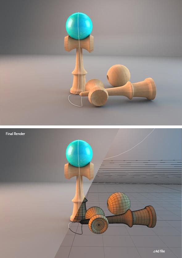 Realistic 3D Kendama - 3DOcean Item for Sale
