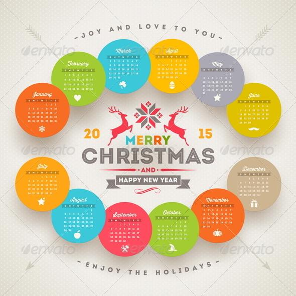 Calendar 2015 With Christmas Type Design By Sergo Graphicriver