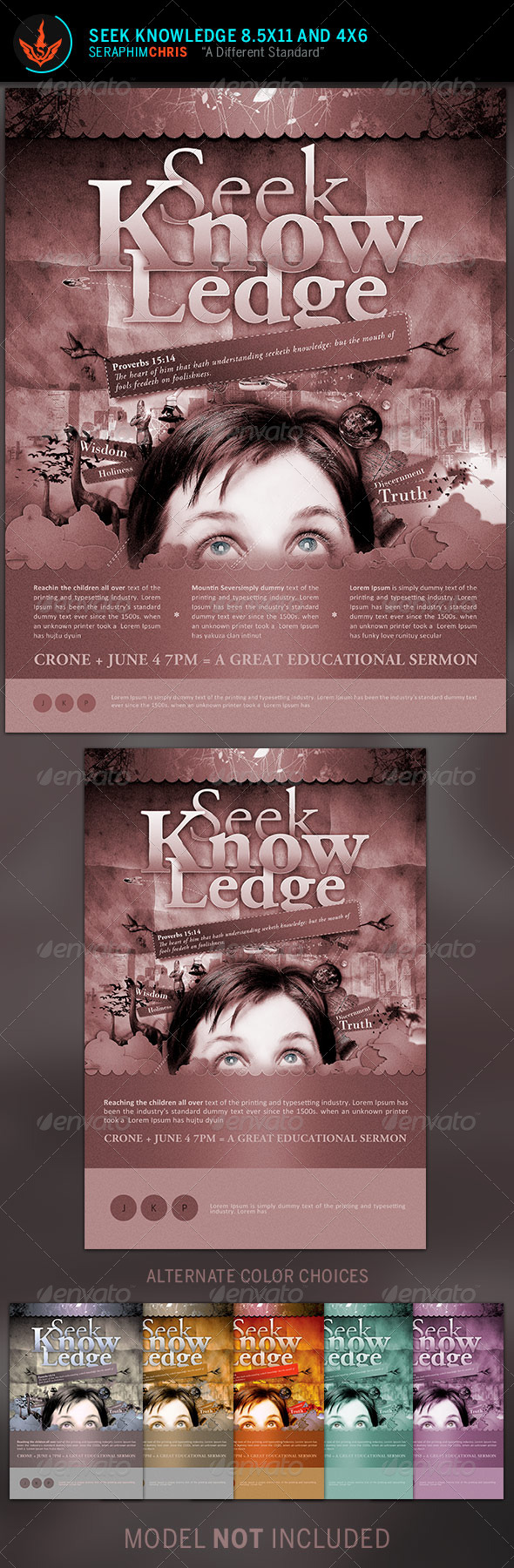 Seek Knowledge Full Page Flyer Template - Church Flyers
