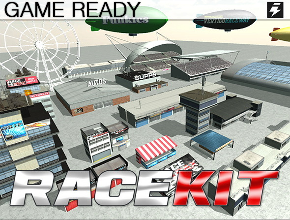 Game Ready Modular Stunt Race Track Kit - 3DOcean Item for Sale