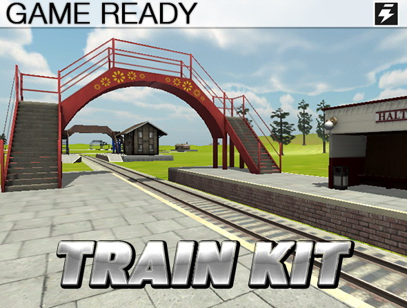 Game Ready Modular Train Track Kit - 3DOcean Item for Sale