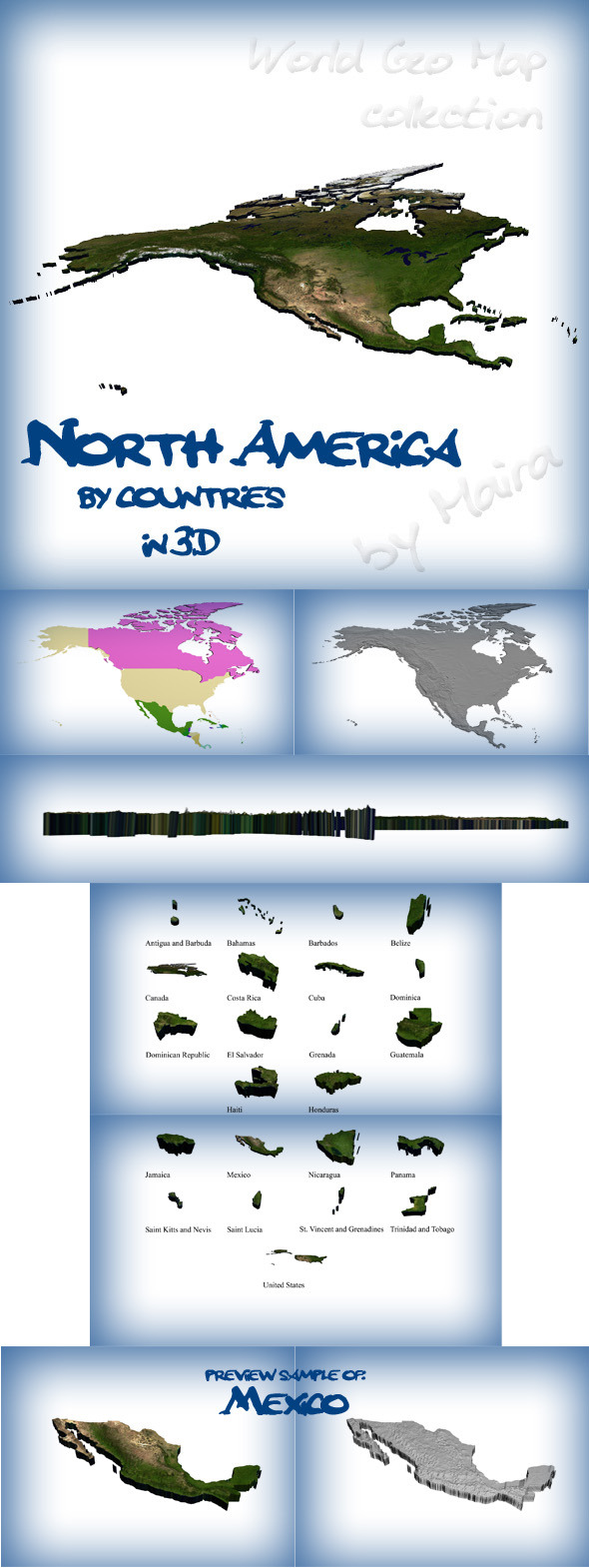 World Geo Map - North America - 3DOcean Item for Sale