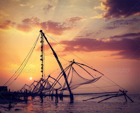 Chinese fishnets on sunset. Kochi, Kerala, India - Stock Photo - Images