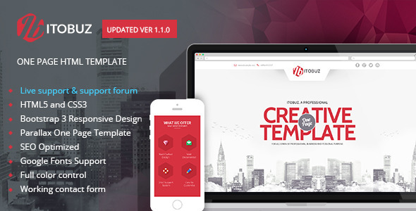 Itobuz One Page Html Template By 0effortthemes Themeforest