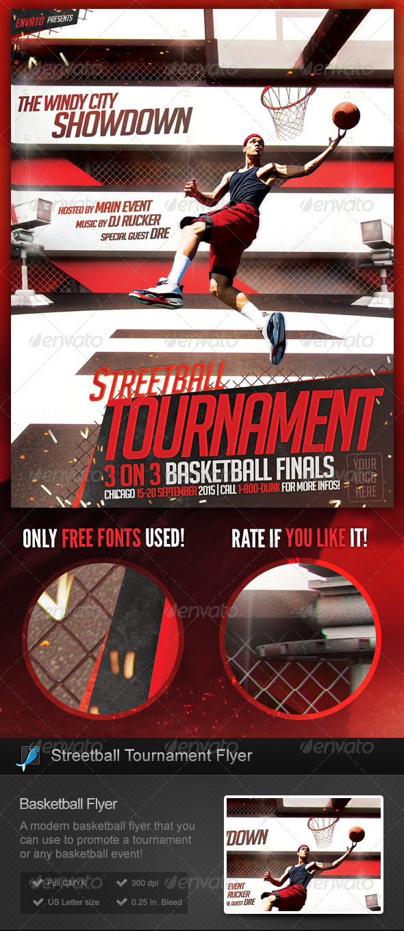 Streetball basketball slam dunk flyer template by for Basketball tournament program template