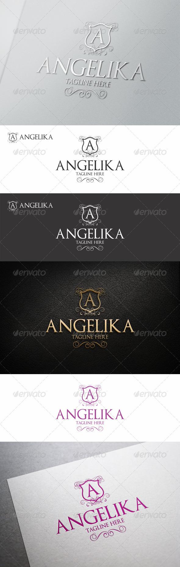 Angelika - Elegant Calligraphic Crest Logo - Crests Logo Templates