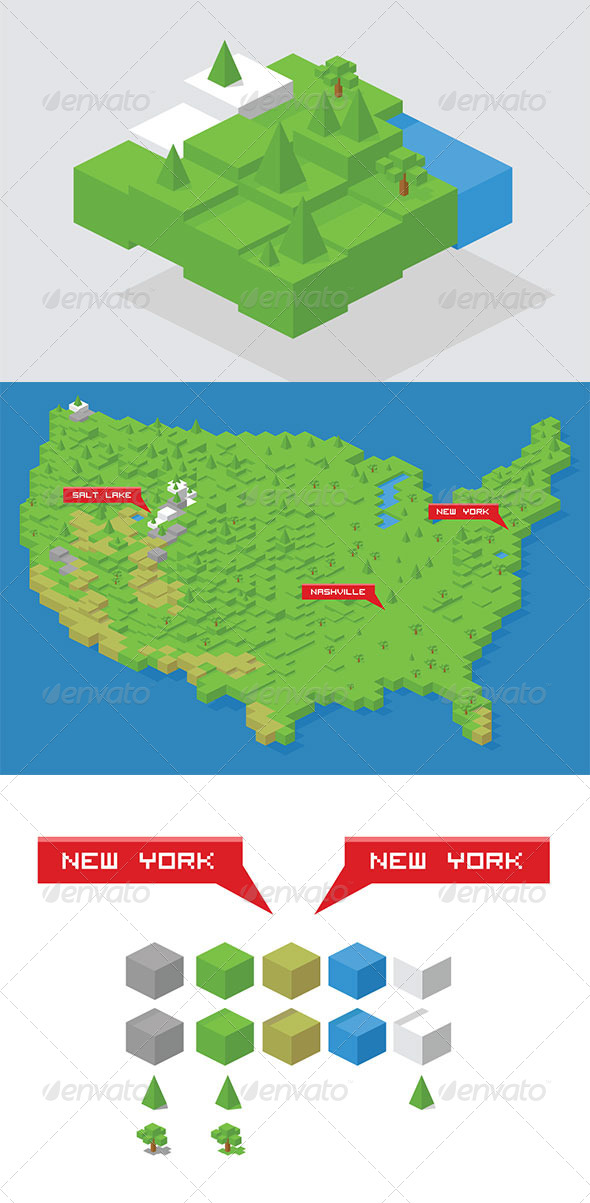 Isometric Cube Map Builder Kit USA Map by dxc GraphicRiver