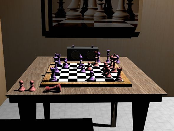 Chess Set (Chessboard and Mini-Room) - 3DOcean Item for Sale