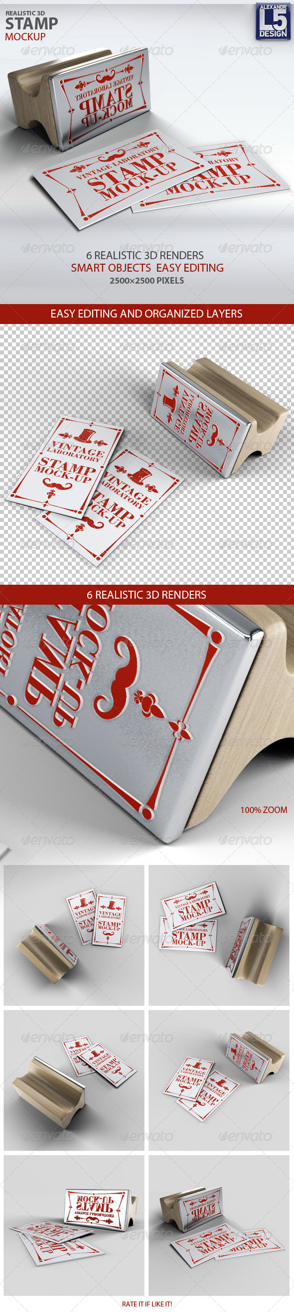 Stamp Business Card Mock-Up - Product Mock-Ups Graphics